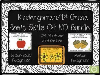 Kindergarten First Grade Basic Skills OH NO Bundle