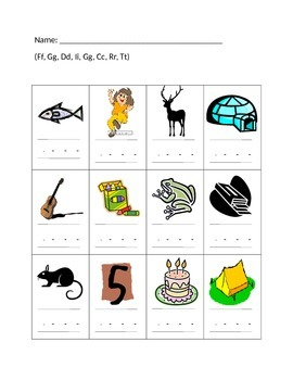 Kindergarten/First Grade Beginning, Middle OR ending sounds