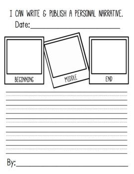 Kindergarten & First Grade Benchmark Literacy Writer's Workshop Publishing Paper