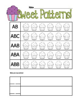 Kindergarten First Grade Cupcake Patterns Math Printable