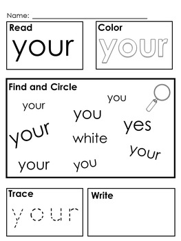 Kindergarten; First Grade High Frequency Sight Words; Morning Work; Flashcards;