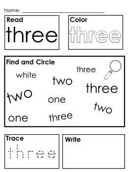 Kindergarten; First Grade High Frequency Sight Words; Morning Work; Flashcards;