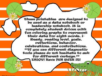 Kindergarten-First Grade Leadership Notebook and Data Binder: Chomping Gator