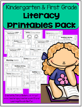 Kindergarten & First Grade Literacy Printables Pack