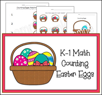 Kindergarten First Grade Math Counting Easter Themed Printables FREE!