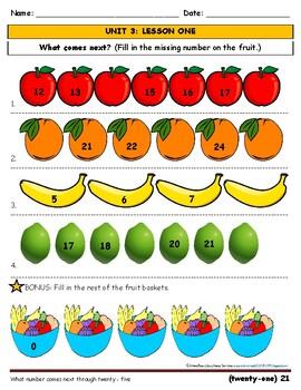 Kindergarten/First Grade Math - Counting/Numbers _ Fruit/Seasonal
