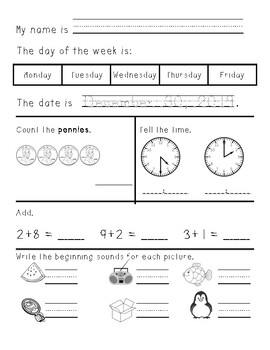 Kindergarten/First Grade Morning Work January through June