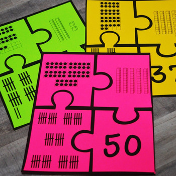 Kindergarten & First Grade NEW Math TEKS: Number Puzzles (Numbers 21-50)