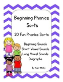 Kindergarten, First Grade Phonics Word Study Sorting Activities