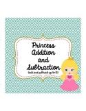 Kindergarten First Grade Princess Addition Subtraction Word Problems Practice