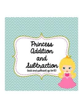 Kindergarten First Grade Princess Addition Subtraction Wor