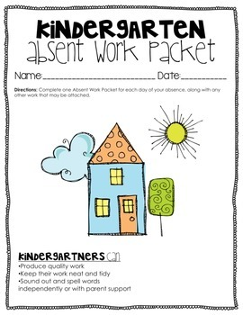 Kindergarten & First Grade Printable Absent Work Packet