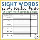 |Kindergarten, First Grade| Read, Write and Draw Sight Word Sentences Worksheets