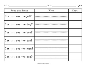  Kindergarten, 1st Grade  Read, Write & Draw Sight Word Sentences Worksheets