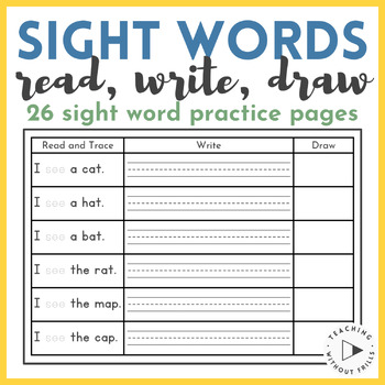{Kindergarten, First Grade} Read, Write and Draw Sight Wor