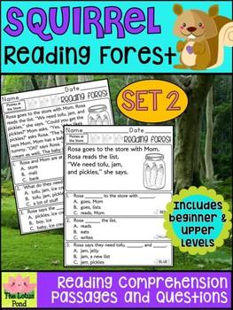 Kindergarten First Grade Reading Comprehension - Reading Forest - Squirrel SET 2