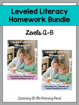 Kindergarten Homework - Reading BUNDLE {for Guided Reading levels A-B}