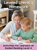 Kindergarten Reading Homework & Take-Home Books {Guided Rdg Lvl A}