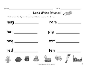 Kindergarten First Grade Rhyming Words Worksheets: Write a Rhyme 8 pages
