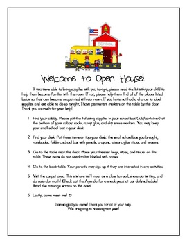 Kindergarten, First Grade, Second Grade Open House Packet