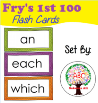 Kindergarten - First Grade Word Wall / Flash Cards Fry Words First 100