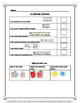 Kindergarten/First Grade Writing Rubrics, Checklists, Self Assessment