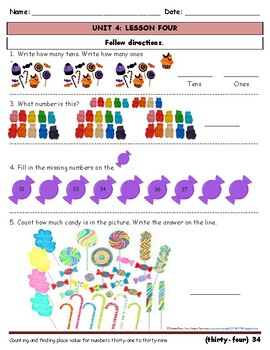 Kindergarten/First Grade practice # words and place value, Fall/Candy/Halloween