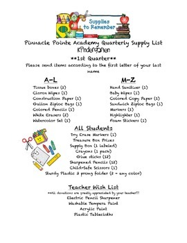 Kindergarten First Quarter Supply List