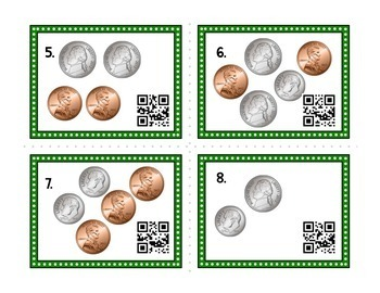 Kindergarten First Grade Second Grade Counting Coins Task Cards w/ QR Codes