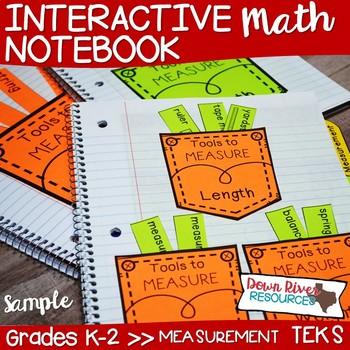 Kindergarten, First & Second Grade Math Interactive Notebook: Measurement Sample