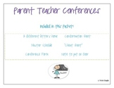 Kindergarten, First, Second, Third Grade Parent Teacher Conference Packet