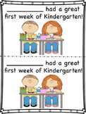Kindergarten First Week Certificates