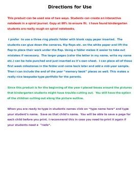 All About Me Interactive Notebook Kindergarten