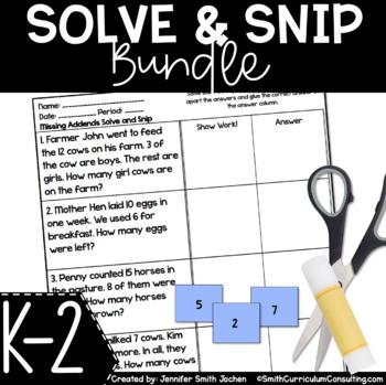 Kindergarten, First and Second Grade Solve and Snips® Bundle
