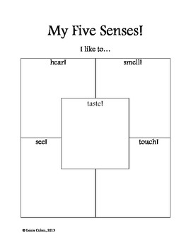 kindergarten five senses worksheet by leora cohen tpt. Black Bedroom Furniture Sets. Home Design Ideas