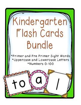 Kindergarten Flashcards -Pre Primer and Primer, Letters, Numbers 0-100-