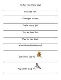 Kindergarten Fluency Sentence Strips