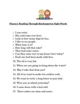 Kindergarten Fluency Sentences Using Fry Sight Words