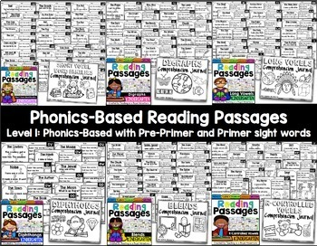 Kindergarten Reading Comprehension Passages and Questions: The Bundle (ALL YEAR)