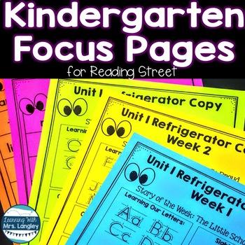 Kindergarten Focus Pages for Reading Street