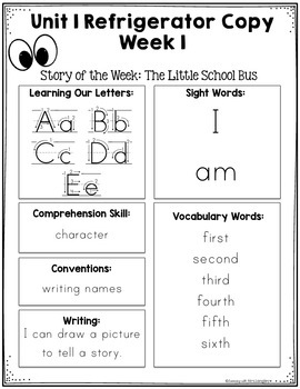 Kindergarten Focus Pages for Reading Street