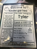 Kindergarten Folder Insert
