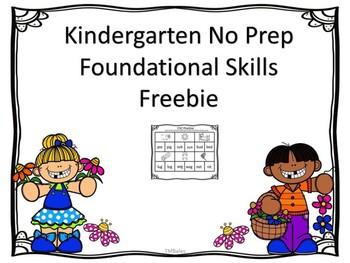 Literacy No Prep Freebie For Kindergarten