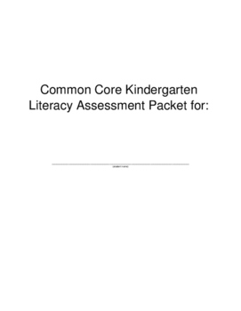 Kindergarten Foundational Skills Assessments