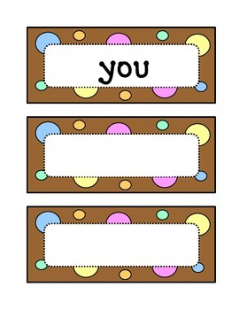 Kindergarten Fountas & Pinnell Sight Word Wall - Dots & Pastel, Chocolate Brown