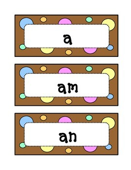 Kindergarten Fountas & Pinnell Sight Word Wall - Dots & Pastel, Chocolate Brown