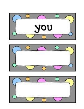 Kindergarten Fountas & Pinnell Sight Word Wall - Dots & Pastel, Grey Theme
