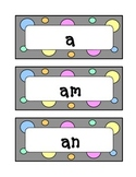 Kindergarten Fountas & Pinnell Sight Word Wall - Dots & Pastel, Grey Theme