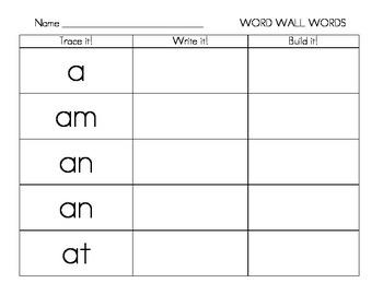 Kindergarten Fountas & Pinnell Wall Words Trace, Write, Build Word Work Center