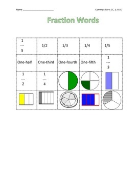 Kindergarten Fraction Packet